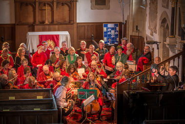 Photo of the signers and band in Puddletown Church