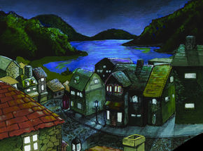 Drawing of Village under moonlight