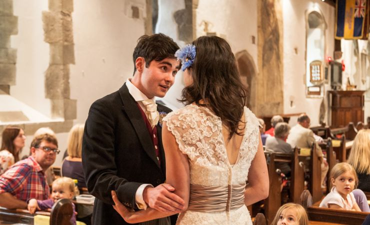Image of bride and groom in church